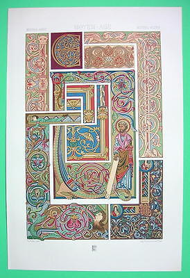 MANUSCRIPT Ornaments Bible Gospel Middle Ages - COLOR Litho Print by Racinet