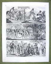 SOUTH AMERICA Natives Indians Negores Brazil Bahia- SUPERB 1844 Antique ... - $17.82