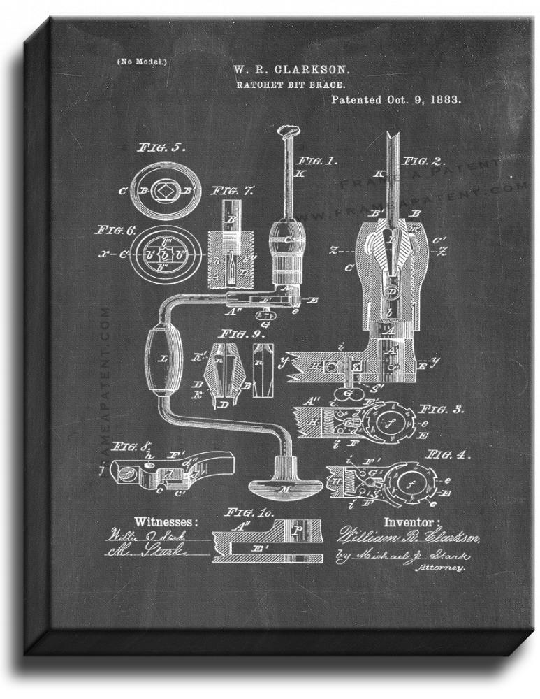 Primary image for Ratchet Bit-brace Patent Print Chalkboard on Canvas