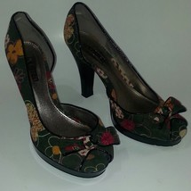 Kenneth Cole Unlisted Women's 8.5 Heels I'm Spending Floral Peep Toe Bow Shoes - $25.26