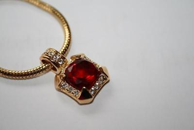 Signed Roman Goldtone Simulated Ruby Red Clear Rhinestone Necklace Pendant J300