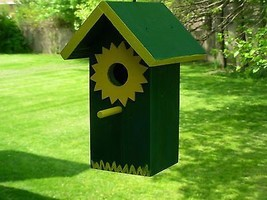"Hanging,Decorated Birdhouse,Green & Yellow,Cedar wood,clean-out,1-1/4""opening. - $39.99"