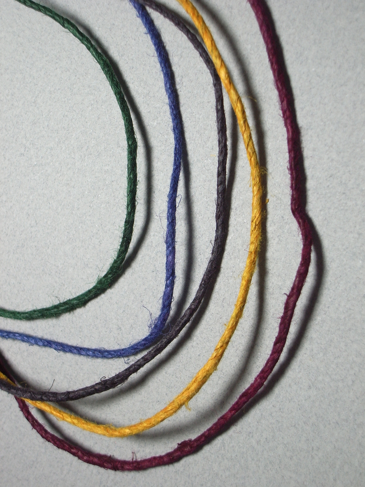"Primary image for 30"" Hand Dyed Hemp Cord"" Yellow"