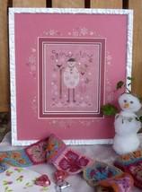 Pink Snowman winter holiday cross stitch kit Shepherd's Bush - $30.00