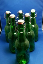 6 Grolsch Beer Bottles Swing Top Glass Reusable Home Brew Syrup Rootbeer 16oz - $18.36