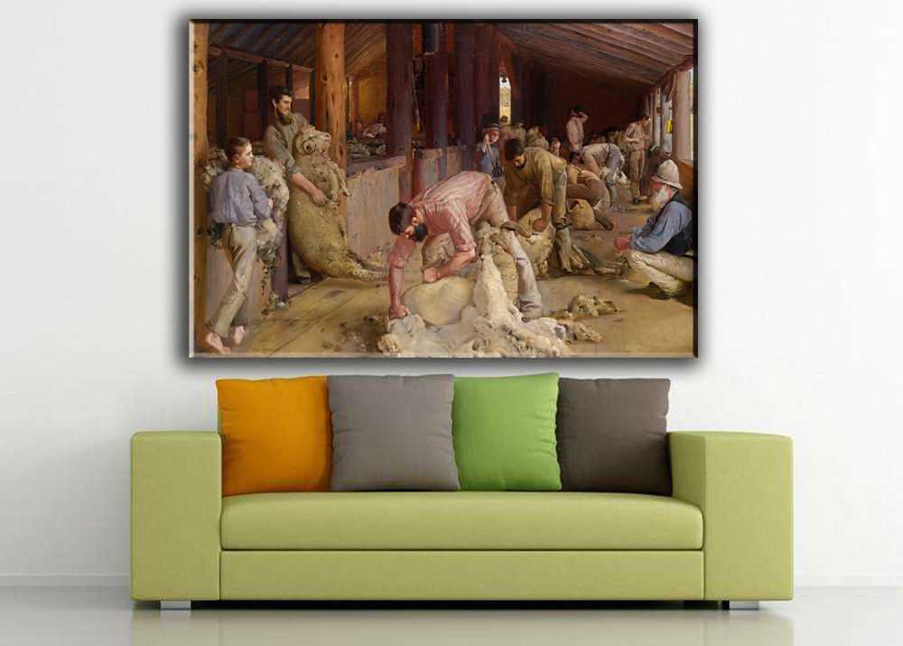 """History Art Oil Painting Print On Canvas Modern Home Decor""""Shearing Rams""""Framed"""