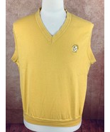 Victoria National Golf Club Cotton Knit Vest Yellow Embroidered Men's XL - $14.43