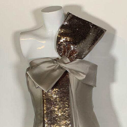 Sachin & Babi Dress Long Barrie Gown Champagne Beige Prom Wedding 4 NEW NWT