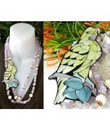 Vintage Parrot Necklace Pendant Amethyst Quartz Shell Inlay  - $49.95