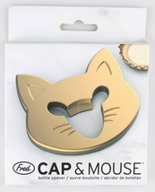 Fred Cap & Mouse Kitty Cat Gold Tone Metal Bottle Opener