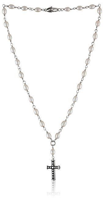 "Primary image for Honora ""Girls"" White Freshwater Cultured Pearl and Cross Rosary Necklace, 14"""