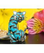 Vintage tiger cat brooch pin enamel alioto adriana italy 800 silver thumbtall
