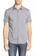 John Varvatos Shirt Small Blue Gray Plaid Short Sleeve Button Down NWT M... - $69.98