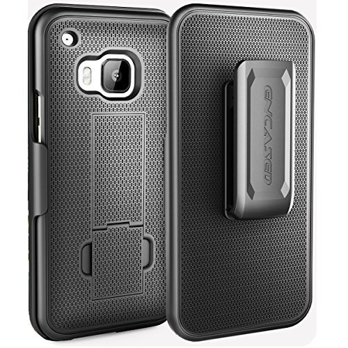 HTC One M9 Belt Case & Clip, Encased [Aero Series] Slim Belt Case & Belt Cli...