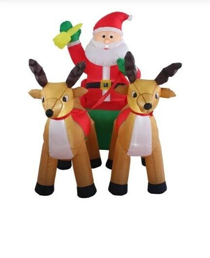 Primary image for NEW 8ft Inflatable Santa Claus Sleigh Reindeer Christmas Lit Yard Decor Outdoor