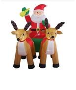 NEW 8ft Inflatable Santa Claus Sleigh Reindeer Christmas Lit Yard Decor ... - $103.45