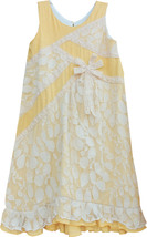 Isobella & Chloe Big Girls 7-16 Yellow White Knit and Lace A-Line Social Dress