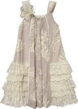 Isobella & Chloe - Baby Girl CRÈME BRULEE Lace Ruffles Panel Dress image 2