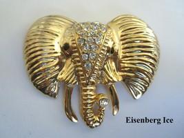 Large Rare Eisenberg Ice Gold Tone and Crystal Rhinestone Elephant Brooc... - $44.50