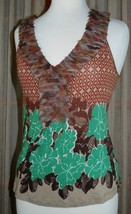 Anthropologie DELETTA - Floral Knit Summer Tank Top Shirt - Size S Small - $29.21
