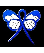 Rectal Cancer Lapel Pin Blue Awareness Ribbon B... - $10.97
