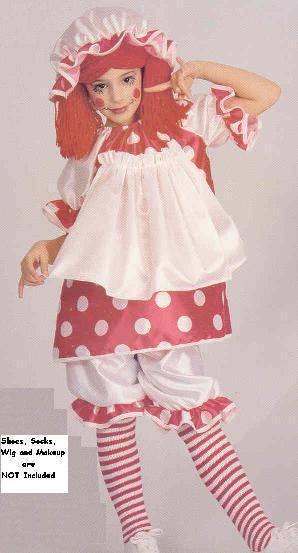 Raggedy Ann Doll SZ 4-6 Childs Coutume ONLY ONE W/DOTS