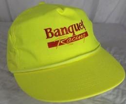 Vintage Banquet Racing Hat Adjustable Strap Bright Yellow 80s 90s - $16.23