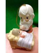 Precious Moments How Great Thou Art Ornament Santa In Manger w/ Baby Jesus NIB - $20.56