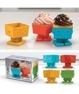 Fred & Friends YumBots Cup Cake Molds Set of 4 Robots Party Swivel Head ... - £12.92 GBP