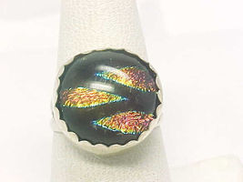 FOIL ART GLASS Ring in STERLING Silver - Artisan Crafted - SIze 7 - $75.00