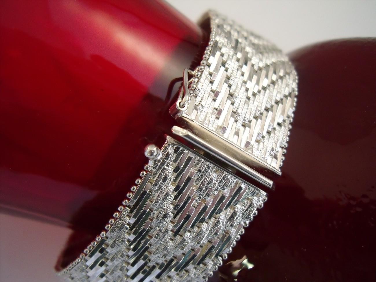 Sterling  herringbone weave bracelet
