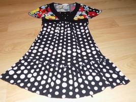 Size 8 Limited Too Black White Polka Dot Floral Print Dress Short Sleeve... - $18.00