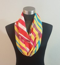 Multi Color Spring Candy Stripe Infinity Scarf Wrap Bright Yellow Pink B... - €8,18 EUR