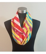 Multi Color Spring Candy Stripe Infinity Scarf Wrap Bright Yellow Pink B... - $8.90