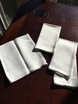 Set Of 4 Vintage White Ivory Dinner Cloth Napkins bx26 - $10.36