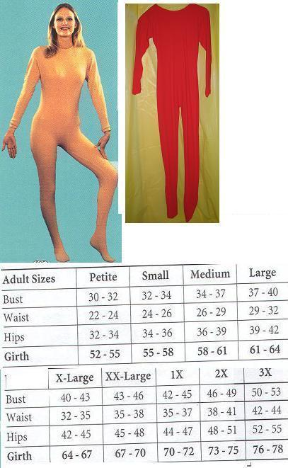 ADULT UNITARD LADIES XLG FULL BODY SUIT RED LADIES XLG