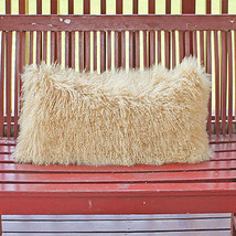 Real Curly Beige Sofa Sheepskin Mongolian Lamb Fur Pillow Cushion Cover ... - $32.99+