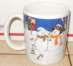Christmas Coffee Mug Cup Snowman and Snowwoman Ceramic - $9.50