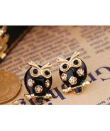 Pretty black rhinestone owl earrings free shipping - $8.95