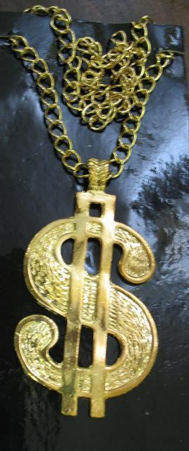 DOLLAR SIGN NECKLACE VERY PIMPY!   COSTUME JEWELRY
