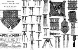 1885 Victorian Macramé Book Pattern Instruction DIY Edwardian Lacemaker... - $12.99