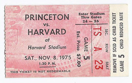 1975 NCAA College Football Ticket Stub Princenton @ Harvard November 8th... - $14.00
