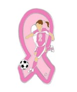 Pink Ribbon Soccer Player Pin Breast Cancer Awa... - $11.97