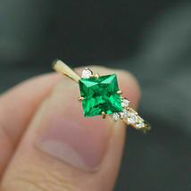 2.30 Ct Princess Cut Green Emerald Diamond Engagement Ring 14K Yellow Go... - $29.69