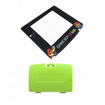 New KIWI GREEN Game Boy Color Battery Cover + Mario & Luigi Screen GBC - $9.35