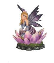 5 Inch Purple Fairy on Pink Flower Petals Figurine Figure Statue Blooming - $28.99