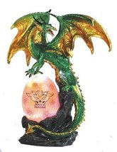 11.5 inch Green Dragon Protects Dragon Egg w/ LED Light Statue Figurine ... - $57.98