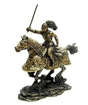 "10.5"" Medieval Armored Knight & Horse w/ Sword Statue Figurine Battle - $78.73"