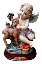 "11.5"" Cherub With Deer and Fruit Statue Figure Figurine Angel - $44.99"