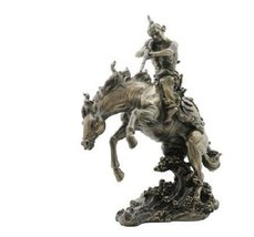 11.5 Inch Indian Warrior w/ Rifle on Horse Stat... - $80.97